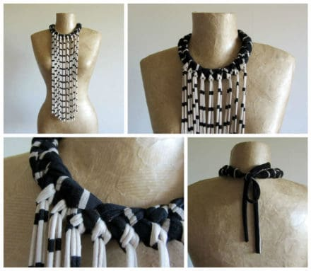 Fabric Necklace With Long Fringe