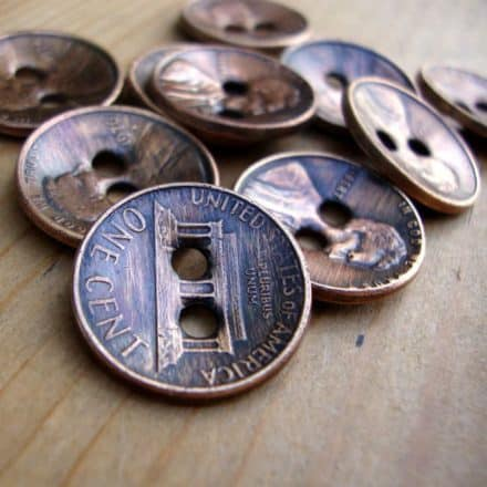 Copper Penny Upcycled Into Buttons