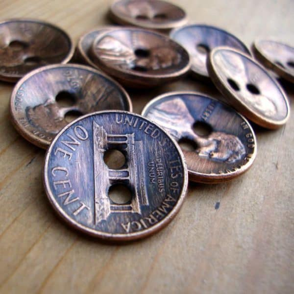 Copper Penny Upcycled Into Buttons Accessories Recycling Metal