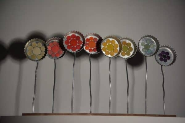Rainbow Flowers Recycled Art