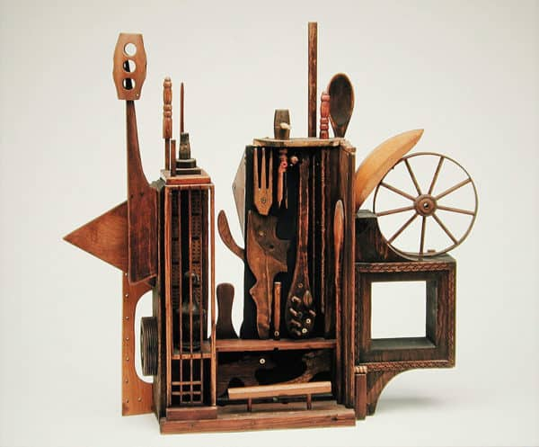 Assemblage Sculpture in Memory of Louise Nevelson Recycled Art