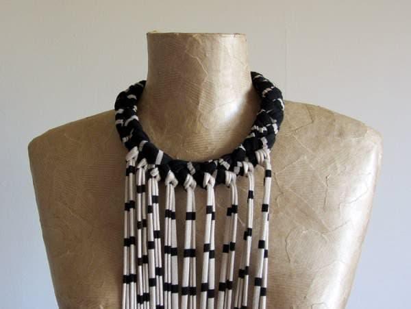Fabric Necklace With Long Fringe Accessories Clothing
