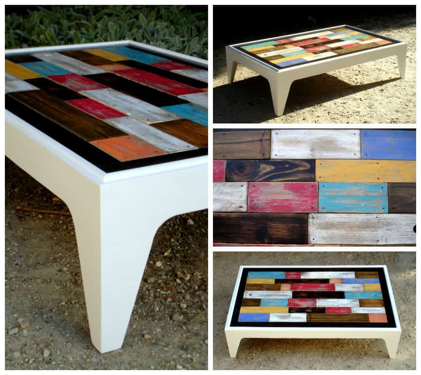 Table Basse Assemblage Chromatique De Bois De Palettes  Colored Pallets Coff