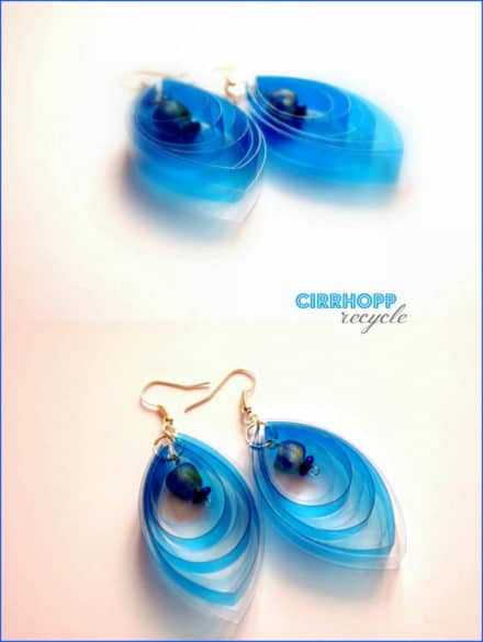Waterclear earrings made of plastic bottle