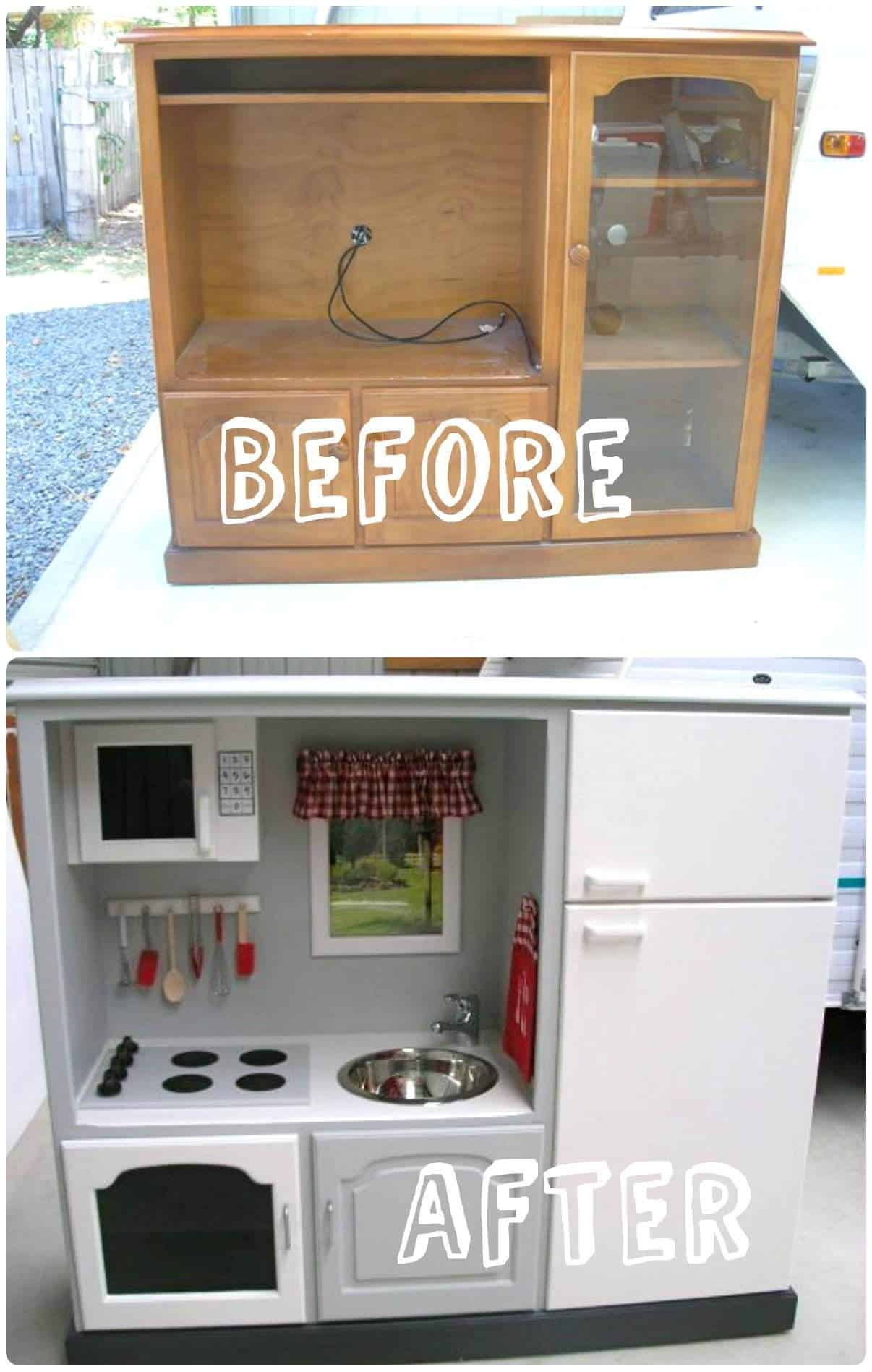 kids play kitchen from old tv stand recycled ideas