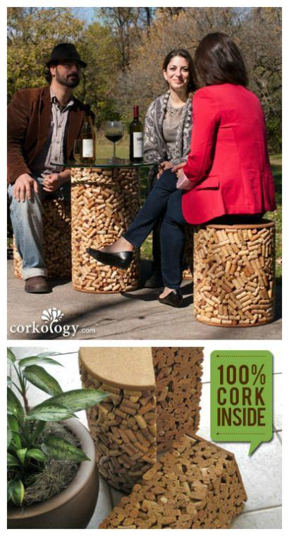 Solid Wine Cork Stopper Patio Set