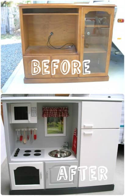 DIY: play kitchen from old furniture (TV stand)