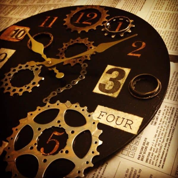 Repurposed Bike Parts into Industrial Clock Bike & Friends Recycled Art