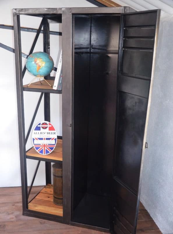 Industrial Wood & Metal Book Wardrobe Recycled Furniture