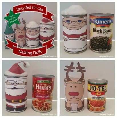 Upcycled Tin Can Christmas Nesting Dolls – Free Printable