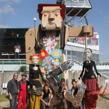 A 5 Meters High Cardboard Giant Gardener