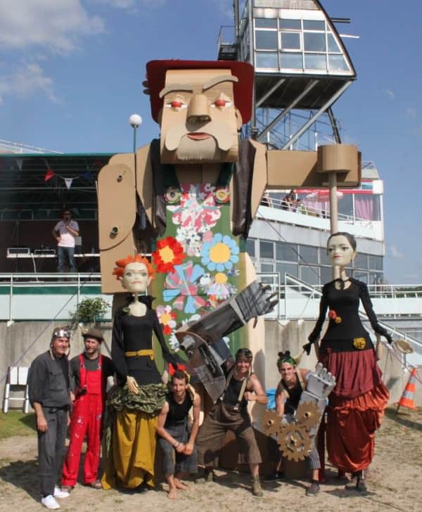 A 5 Meters High Cardboard Giant Gardener Recycled Art Recycled Cardboard