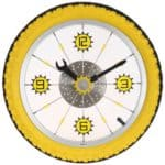 Maples-Aluminum-Bicycle-Wheel-with-Rubber-Tire-Wall-Clock-Yellow-0