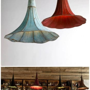 Pending Lamps From Recycled Gramophones