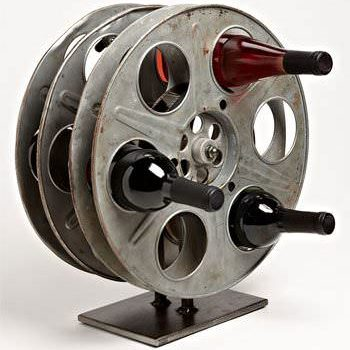 Vintage Film Reel Into Wine Rack
