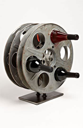 Vintage Film Reel Into Wine Rack Accessories Recycling Metal