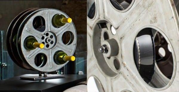 Vintage Film Reel Into Wine Rack Accessories Recycling Metal
