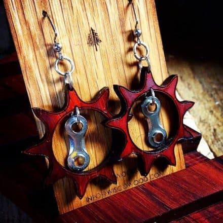 Wood & Bike Chain Earrings