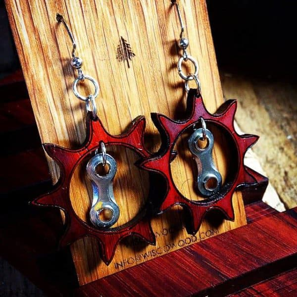 Wood & Bike Chain Earrings Upcycled Bicycle Parts Upcycled Jewelry Ideas