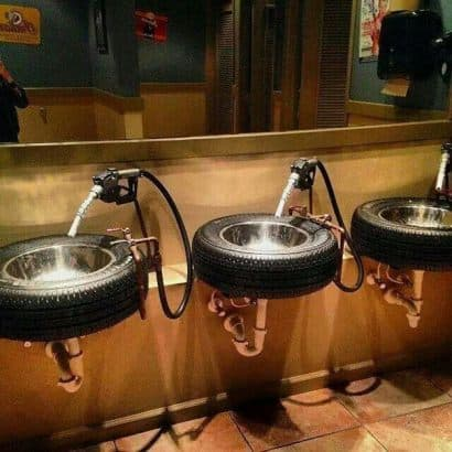 A sink that is also a tire ! perfect idea for a man cave !