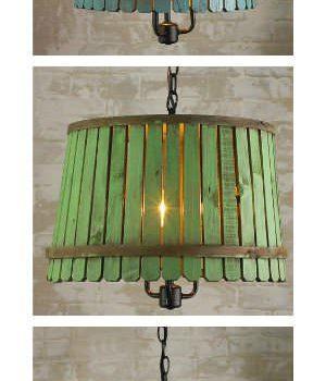 Reclaimed Bushel Basket Into Pendant Lamp