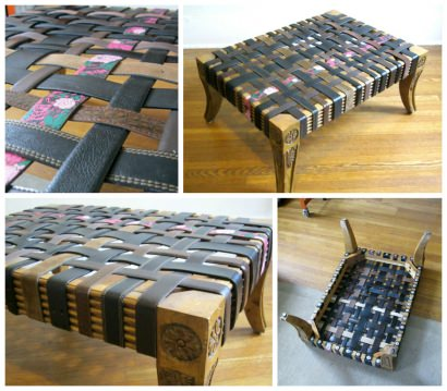 Ottoman from Old Belts