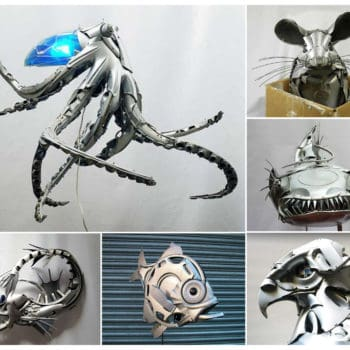 Upcycled Hubcaps into Animal Sculptures