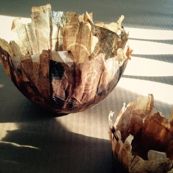 Teabag Papier Mache Bowls Recycled Art