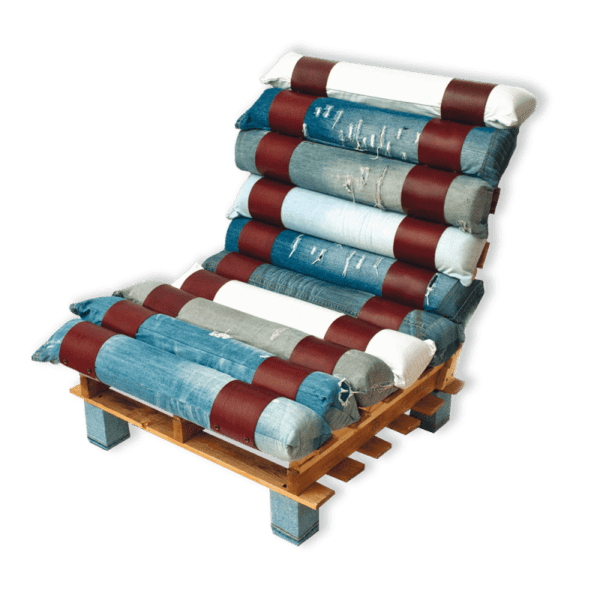 Lounge Chair Made out of Pallets and Denim Recycled Furniture Recycled Pallets