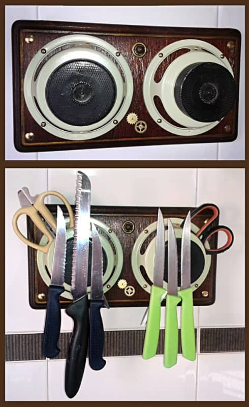 Magnetic Knife Storage from Recycled Speaker Accessories Recycled Electronic Waste