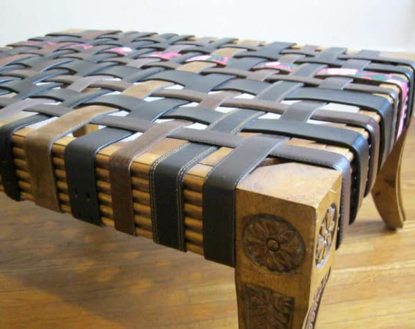 Ottoman from Old Belts Recycled Furniture