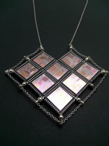 Hi-Tech Valentine Heart Computer Chip and Wafer Necklace