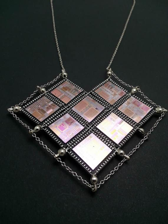 Hi-tech Valentine Heart Computer Chip and Wafer Necklace Upcycled Jewelry Ideas