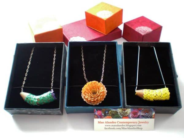 Pencil shavings jewelry by Mae Alandes Upcycled Jewelry Ideas