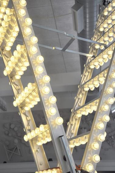 Repurposed Ladder Used as Giant Chandelier Do-It-Yourself Ideas