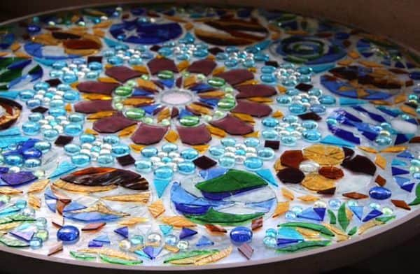 Turn An Old Glass Table Top Into A Stained Glass Mosaic Wall Light Art Recycled Art Recycled Glass