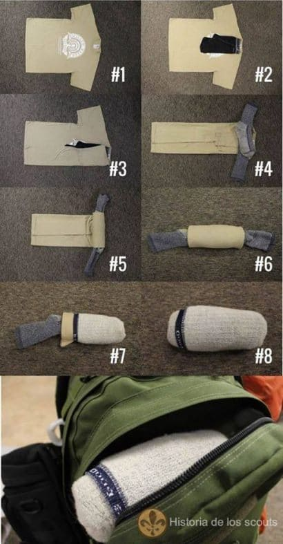 How to pack a shirt in a sock ?
