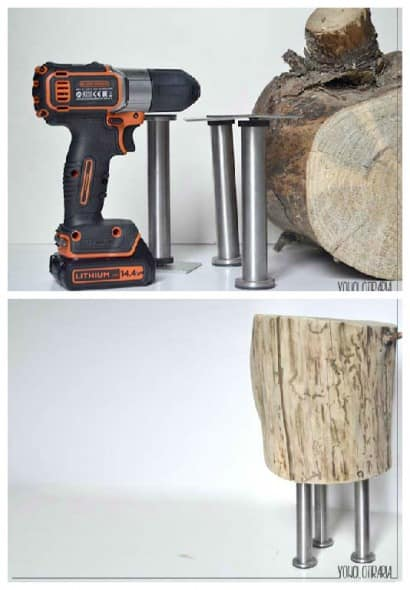 DIY: Wood Log Nightstand