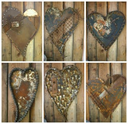 Heart Decoration From Scrap Metal Collage