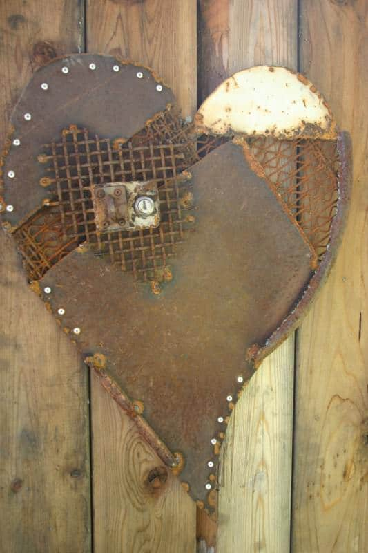 Heart Decoration From Scrap Metal Collage Recycling Metal