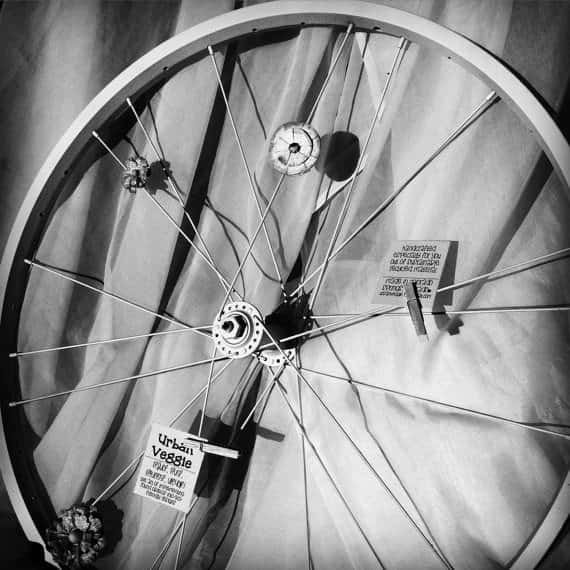 Bike Wheel Upcycled Into Message Board Bike & Friends