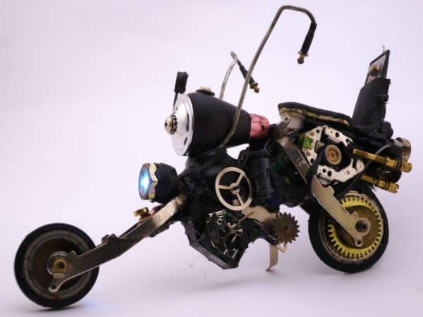 Tiny Glue-gun Bike Recycled Art Recycled Electronic Waste