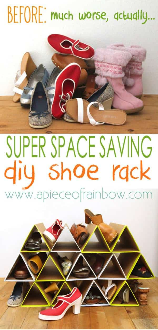 DIY: Super Space Saving Shoe Organizing Rack Accessories Do-It-Yourself Ideas Recycled Cardboard