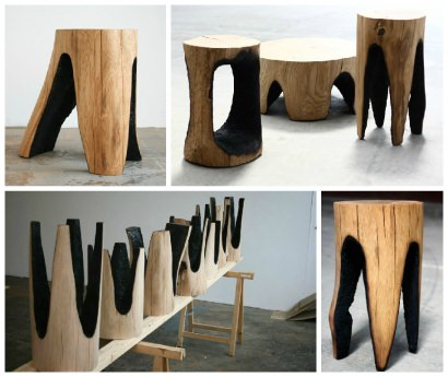 """Burned Out"" Tree Trunk Stools by Kaspar Hamacher"