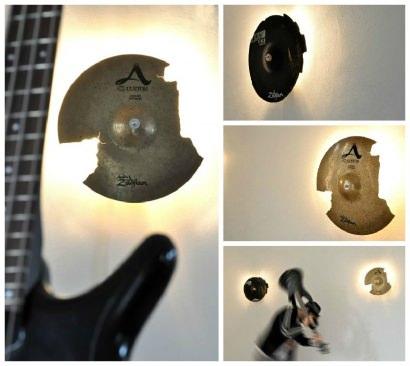 Broken Cymbals Upcycled Into Wall Lamp