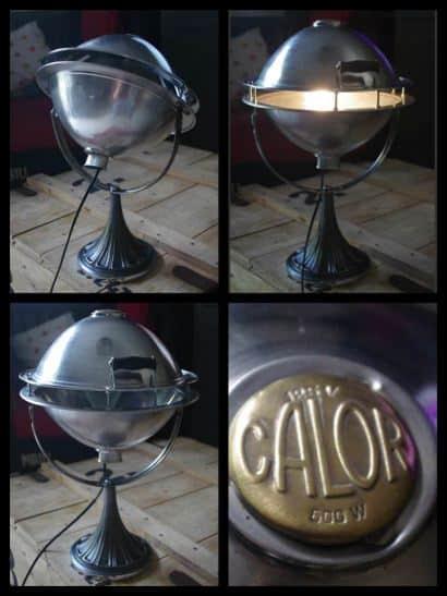 """Lampe Fabriquée avec un Vieux Chauffage """"CALOR"""" / Lamp Made with an Old """"CALOR"""" Heating"""
