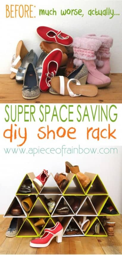 DIY: Super Space Saving Shoe Organizing Rack