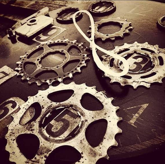Eternal Now Bike Enthusiast Clock Recycled Art Upcycled Bicycle Parts