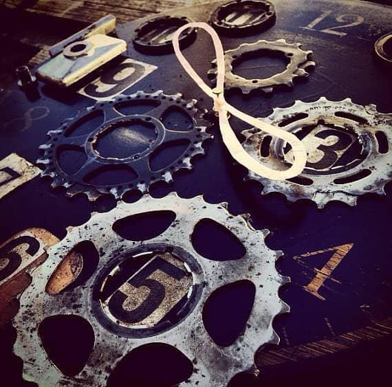 Eternal Now Bike Enthusiast Clock Bike & Friends Recycled Art