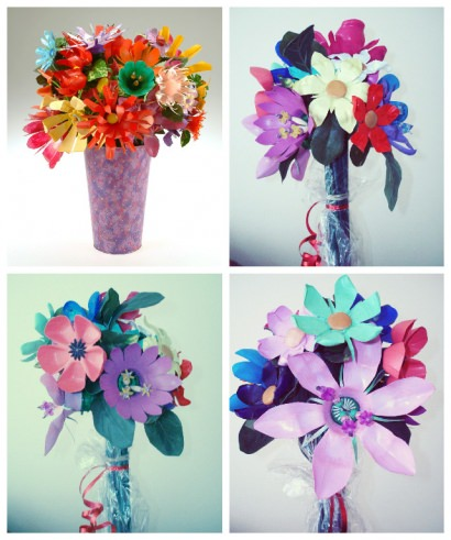Upcycled Plastic Pop & Water Bottles Into Beautiful Flower Bouquets